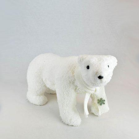 Διακοσμητικός λούτρινος αρκούδος, Λευκός 38x16x24cm