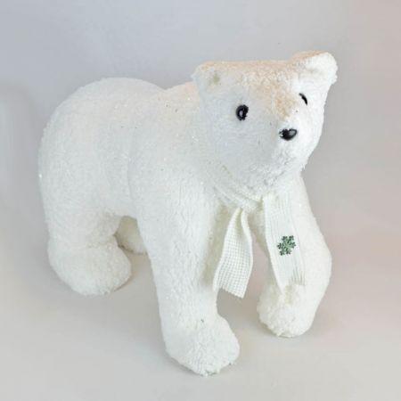 Διακοσμητικός λούτρινος αρκούδος, Λευκός 61x25x44cm