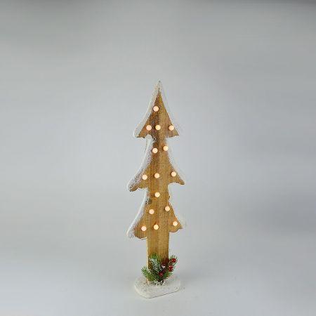 Διακοσμητικό επιτραπέζιο ξύλινο δεντράκι Καφέ με φωτισμό LED 60cm