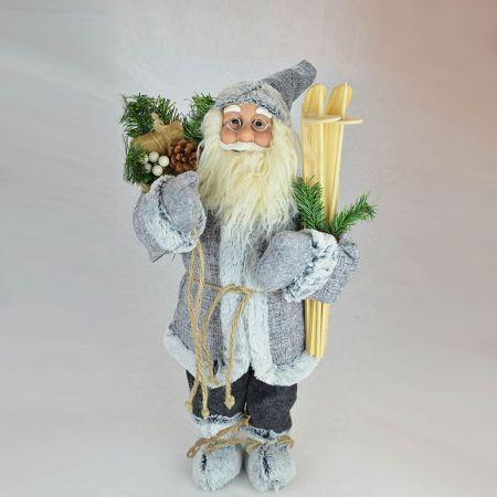 Χριστουγεννιάτικος  Άγιος Βασίλης, λούτρινος Γκρι 60cm