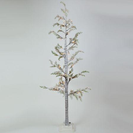 Φωτιζόμενο δέντρο Χριστουγέννων χιονισμένο με LED μπαταρίας 150cm