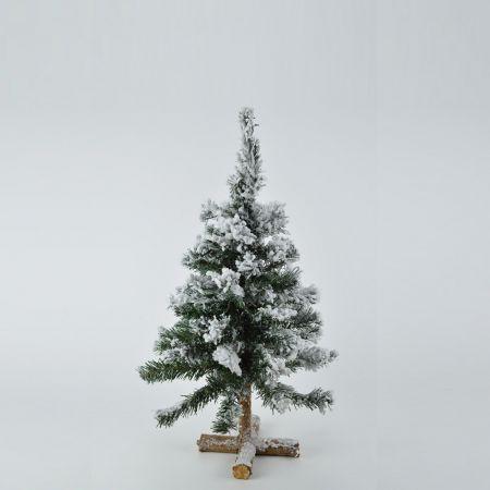 Χριστουγεννιάτικο χιονισμένο δεντράκι με ξύλινη βάση 60cm