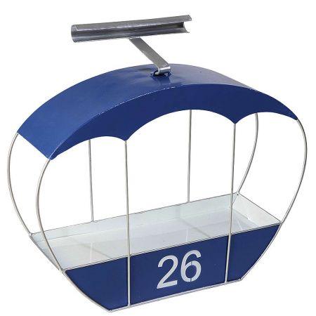 Διακοσμητικό μεταλλικό τελεφερίκ - ράφι Μπλε 50x49x15cm