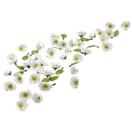 Σετ 80τχ διακοσμητικά λουλούδια ανθισμένες κερασιές Λευκά 3cm
