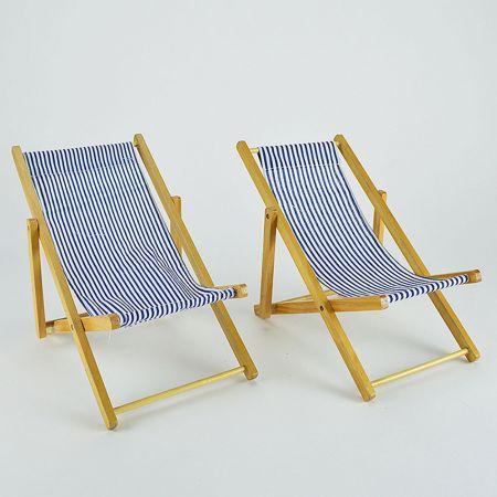 Σετ 2τχ Διακοσμητικές καρέκλες παραλίας mini για βιτρίνα Μπλε 22cm