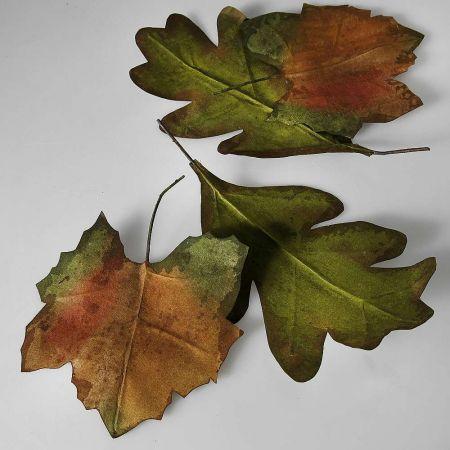 Σετ 6τχ XL Διακοσμητικά Φθινοπωρινά φύλλα Πράσινο - Καφέ 32cm