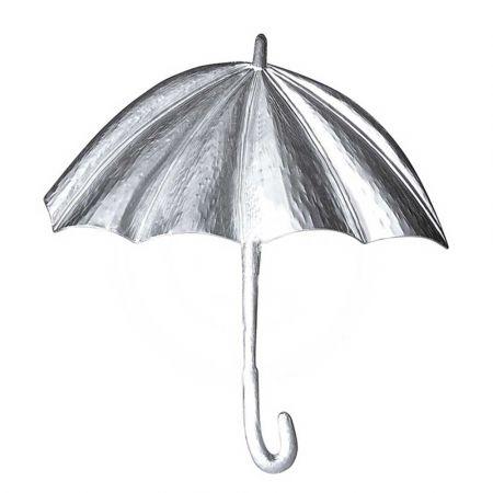 Διακοσμητική μεταλλική ομπρέλα μονής όψης Ασημί 70cm