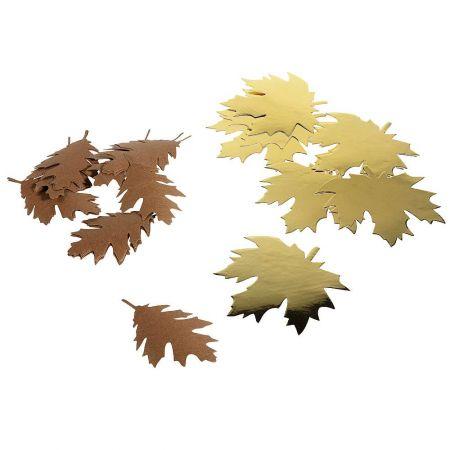 Σετ 40τεμ Χάρτινα Φθινοπωρινά φύλλα Χρυσά - Καφέ 11x11cm, 10x6cm