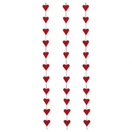 Σετ 3τχ Διακοσμητική γιρλάντα Αγίου Βαλεντίνου με 12 καρδιές Κόκκινες 150cm