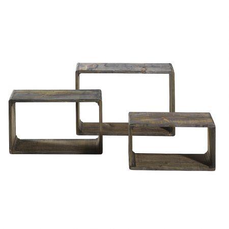 Σετ 3τμχ Διακοσμητικοί ξύλινοι κύβοι Καφέ 58x38x20cm