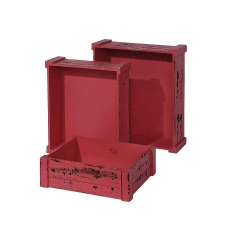 Σετ 3τμχ. Διακοσμητικά Καφάσια Ξύλινα Ροζ-Κόκκινο 45x38x14cm