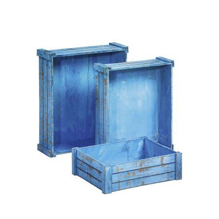 Σετ 3τμχ. Διακοσμητικά Καφάσια Ξύλινα Γαλάζια 45x38x14cm