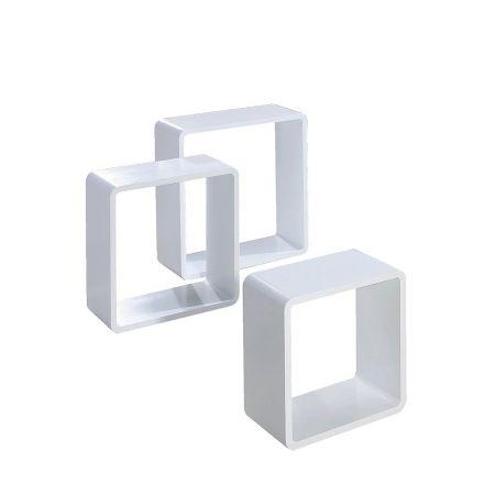 Σετ 3τμχ Διακοσμητικοί ξύλινοι κύβοι Λευκό 35/42/50cm