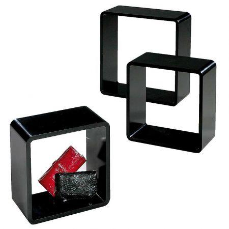 Σετ 3τχ Διακοσμητικοί Κύβοι Ξύλινοι Μαύροι 35cm, 42cm, 50cm
