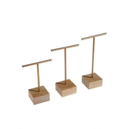 Σετ 3τχ Σταντ για κοσμήματα με ξύλινη βάση 10x7cm-12x7cm-14x7cm