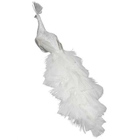 Παγώνι με μακριά ουρά  λευκό, 35cm
