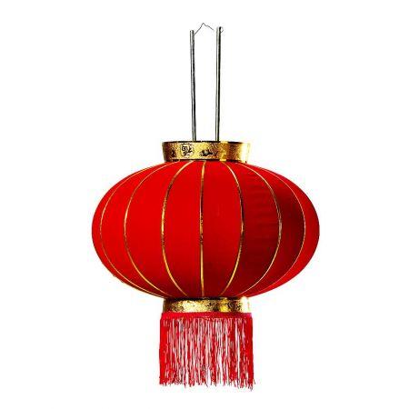 Διακοσμητικό Κινέζικο βελούδινο φαναράκι Κόκκινο 40cm