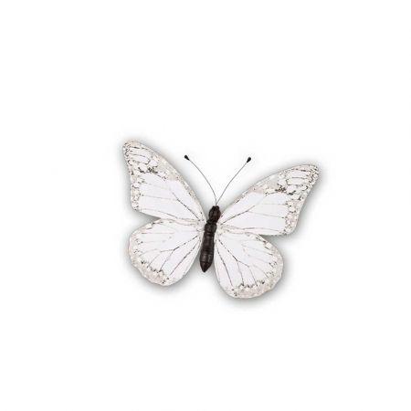 Διακοσμητική πεταλούδα PVC Λευκή 20x15cm