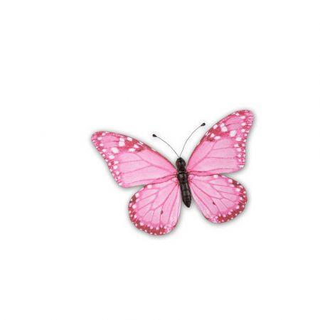 Διακοσμητική πεταλούδα PVC Ροζ, 20x15 cm