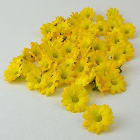 Σετ 60τχ mini διακοσμητικά άνθη Κίτρινα 4cm