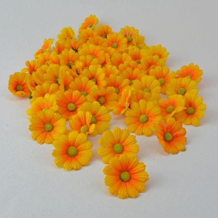 Σετ 60τχ mini διακοσμητικά άνθη Πορτοκαλί 4cm