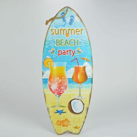 Διακοσμητική σανίδα Surf - Summer Beach Party 30x78cm