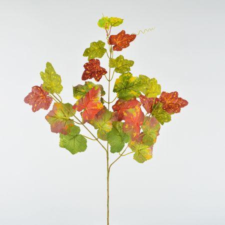 Τεχνητό κλαδί με αμπελόφυλλα Πράσινο - Πορτοκαλί 60cm