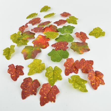 Σετ 36τχ Διακοσμητικά αμπελόφυλλα Πράσινο - Πορτοκαλί 7-8cm