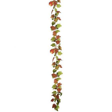 Διακοσμητική γιρλάντα με αμπελόφυλλα Πράσινο - Πορτοκαλί 180cm