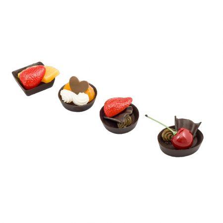 Σετ 4τμχ Διακοσμητικά γλυκάκια με φρούτα - απομίμηση 4.5cm