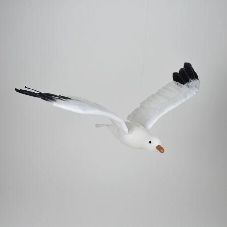 Διακοσμητικός γλάρος με ανοιγμένα φτερά Λευκό - Μαύρο 60cm