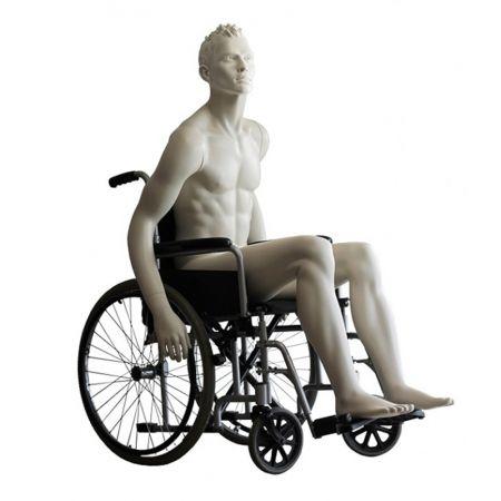 Ανδρική Κούκλα Βιτρίνας με Ανάγλυφο Κεφάλι 187cm για Αναπηρικό Αμαξίδιο