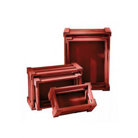Σετ 5τμχ. Διακοσμητικά Καφάσια Ξύλινα Κόκκινο 37x28.5x15.5cm
