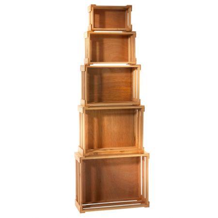 Σετ 5τμχ. Διακοσμητικά Καφάσια Ξύλινα Φυσικό 37x28.5x15.5cm