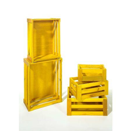 Σετ 5τμχ. Διακοσμητικά Καφάσια Ξύλινα Κίτρινα 37x28.5x15.5cm
