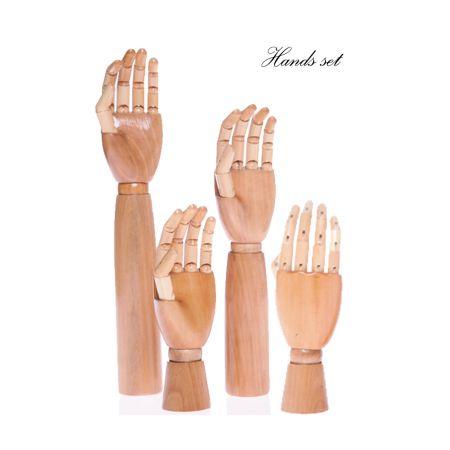 Σετ 4τμχ. Διακοσμητικά Χέρια Ξύλινα με κίνηση