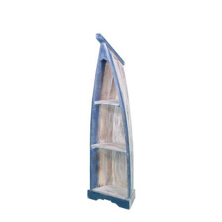 Διακοσμητική ραφιέρα βάρκα Μπλε - Λευκή 140cm