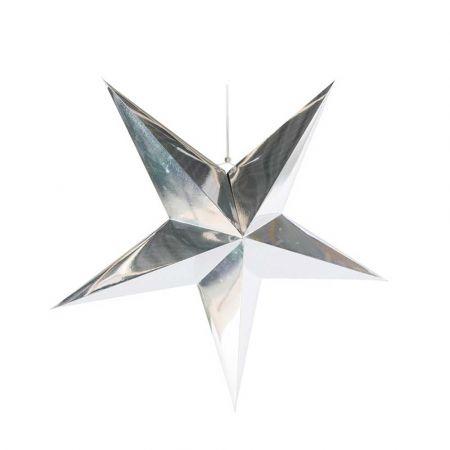 Χριστουγεννιάτικο αστέρι κρεμαστό αναδιπλούμενο - Ασημί 60cm
