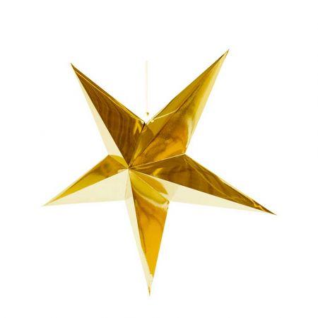 Χριστουγεννιάτικο αστέρι κρεμαστό αναδιπλούμενο - Χρυσό 60cm