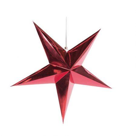 Χριστουγεννιάτικο αστέρι κρεμαστό αναδιπλούμενο - Κόκκινο 60cm