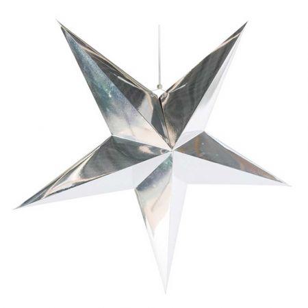 Χριστουγεννιάτικο αστέρι κρεμαστό αναδιπλούμενο - Ασημί 90cm