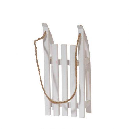 Διακοσμητικό έλκηθρο με σχοινί mini - Λευκό 20x9x5cm