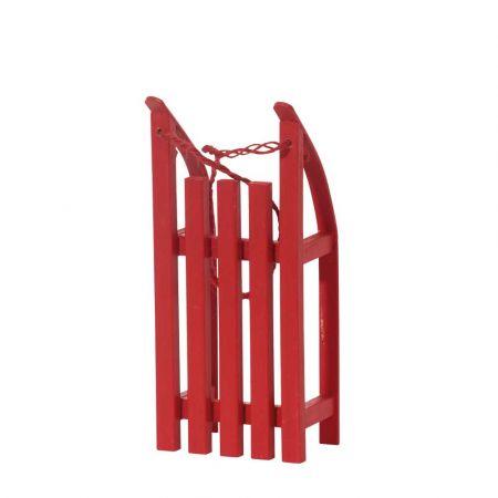Διακοσμητικό mini έλκηθρο με σχοινί - Κόκκινο 20x9x5cm