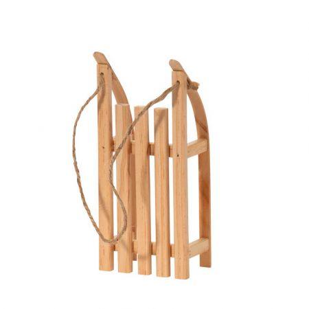 Διακοσμητικό mini έλκηθρο με σχοινί - Φυσικό ξύλο 20x9x5cm