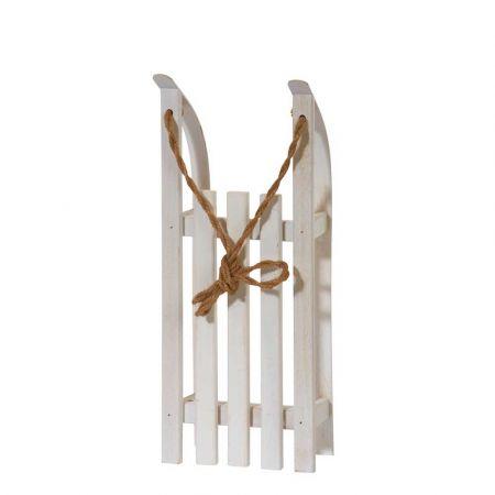 Διακοσμητικό ξύλινο έλκηθρο με σχοινί - Λευκό 38x15x9cm