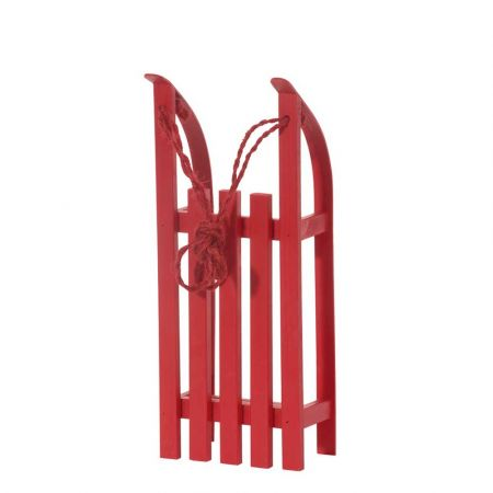 Διακοσμητικό ξύλινο έλκηθρο με σχοινί - Κόκκινο 38x15x9cm