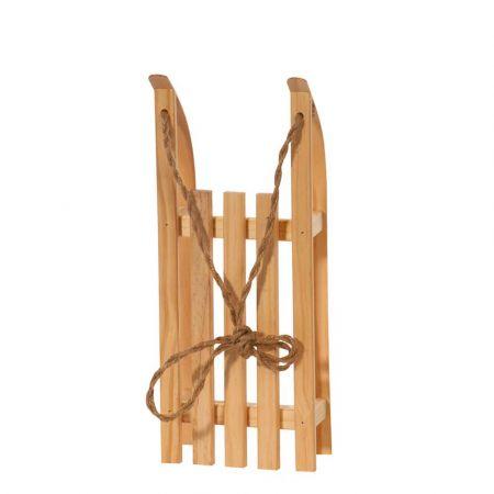 Διακοσμητικό ξύλινο έλκηθρο με σχοινί - Φυσικό ξύλο 38x15x9cm