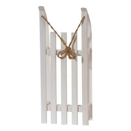 Διακοσμητικό ξύλινο έλκηθρο με σχοινί - Λευκό 50x21x11cm