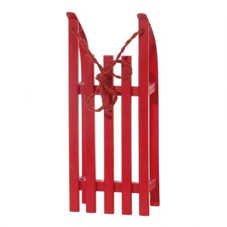 Διακοσμητικό ξύλινο έλκηθρο με σχοινί - Κόκκινο 50x21x11cm