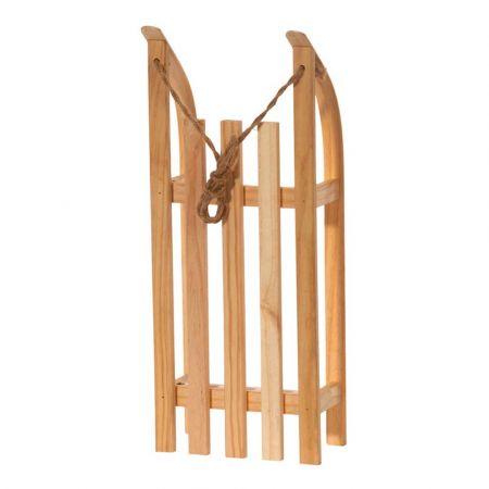 Διακοσμητικό ξύλινο έλκηθρο με σχοινί - Φυσικό ξύλο 50x21x11cm